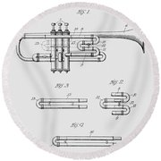 Trumpet Patent From 1919 Round Beach Towel