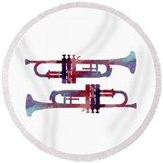 Trumpets Round Beach Towel