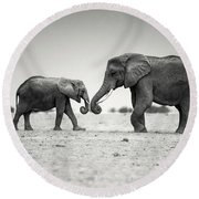 Trunk Pumping Elephants Round Beach Towel