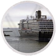 Tugboat Assisting Big Cruise Liner In Venice Italy Round Beach Towel
