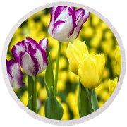 Tulips Garden Round Beach Towel