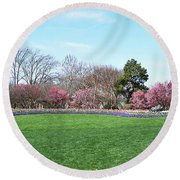 Tulips In The Park. Round Beach Towel