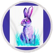Turquoise And The Hare  Round Beach Towel