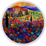 Tuscany Poppies  Round Beach Towel