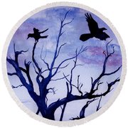 Twilight Flight Round Beach Towel