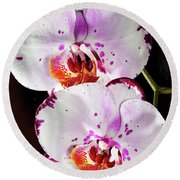 Twin Orchids Round Beach Towel