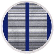 Twin Towers Of New York  Round Beach Towel
