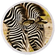Twins In Stripes Round Beach Towel