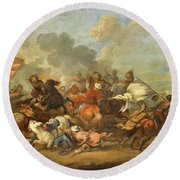 Two Battle Scenes Between Christians And Saracens Round Beach Towel