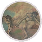 Two Dancers Resting Round Beach Towel by Edgar Degas