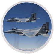 Two F-15 Eagles Conduct Air-to-air Round Beach Towel by HIGH-G Productions