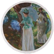 Two Girls With Parasols Round Beach Towel