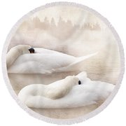 Two Swans Round Beach Towel by Svetlana Sewell