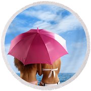 Two Women Relaxing On A Shore Round Beach Towel by Oleksiy Maksymenko