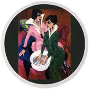 Two Women With A Washbasin Round Beach Towel
