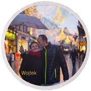 Ula And Wojtek Engagement 12 Round Beach Towel