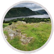 Ullswater Lake From Gowbarrow Fell, Lake District Round Beach Towel