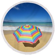 Umbrella On Beach Round Beach Towel