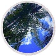 Under The Palms Round Beach Towel