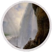 Underneath Niagara Falls Round Beach Towel