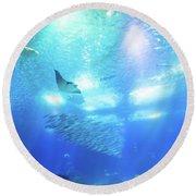 Undersea Deep Background Round Beach Towel