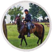 Union Cavalryman Round Beach Towel