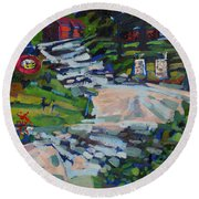 Uphill In Rockport Round Beach Towel