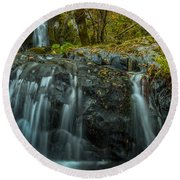 Upper Boulder Creek Falls Round Beach Towel