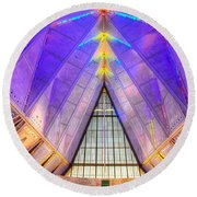 Us Air Force Academy Chapel Round Beach Towel