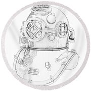 Us Navy Diving Helmet Mark V Round Beach Towel