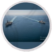 Uss Carl Vinson Round Beach Towel