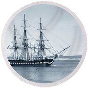 Uss Constitution Old Ironsides In Monterey Bay Oct. 1933 Round Beach Towel