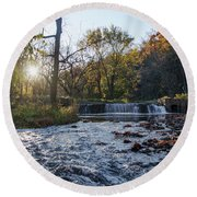 Valley Creek Waterfall - Valley Forge Pa Round Beach Towel