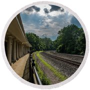 Valley Forge Train Station  Round Beach Towel