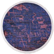 Valley Of Fire Petroglyphs Round Beach Towel