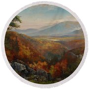 Valley Of The Catawissa In Autumn Round Beach Towel