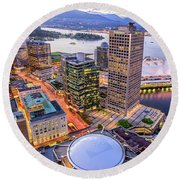 View Of Vancouver At Dusk. Round Beach Towel
