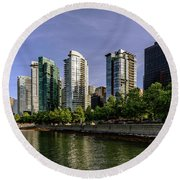 Waterfront Of Vancouver, Canada Round Beach Towel