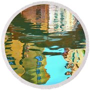 Venetian Mirror - Venice In Water Reflections Round Beach Towel