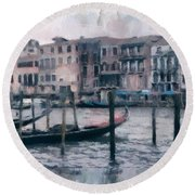 Venice Channels Round Beach Towel