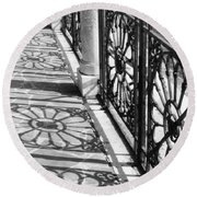 Venice Fence Shadows Round Beach Towel