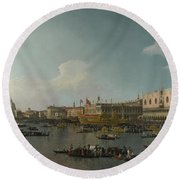 Venice   The Basin Of San Marco On Ascension Day Round Beach Towel