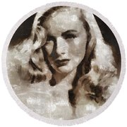 Veronica Lake Vintage Hollywood Actress Round Beach Towel