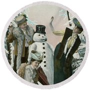 Victorian Christmas Card Round Beach Towel