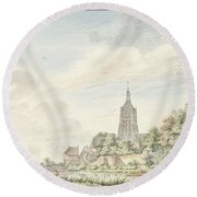 View Asperen With The City Walls And The Steeple Round Beach Towel