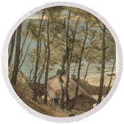 View From A Hill On A House On The Gulf Of Arcachon, August Allebe 1876 Round Beach Towel