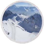 View From Summit Of Valluga, St Saint Anton Am Arlberg Austria Round Beach Towel