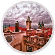View From The Top In Prague Round Beach Towel