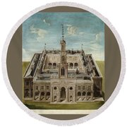 View Of A Castle Round Beach Towel