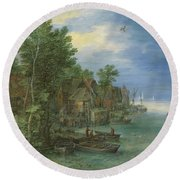 View Of A Village Along A River Round Beach Towel